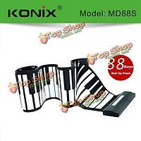 Konix USB 88 ключевых миди гибкий силиконовый электронный закатать фортепиано md88s