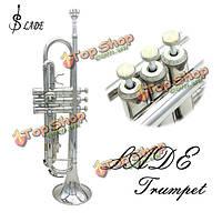 Ладэ вв серебряная труба духового оркестра с перчатки кисть чистой тряпкой