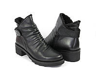 Женские черные ботинки на низком каблуке, фото 1