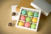 НОВИНКА! Коробка для конфет, макаронс, кейк-попсов, 145*145*29 мм., с ложементом!