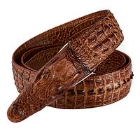 Мужской кожаный ремень с изображением крокодила.