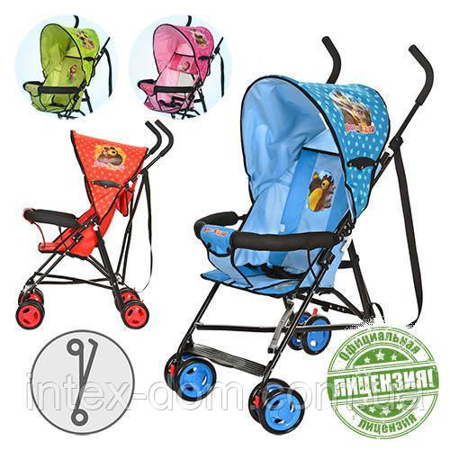 Детская коляска-трость Маша и Медведь MM 0067-1B  (Голубая)