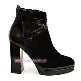 Женские классические ботинки на высоком каблуке, зимний вариант, фото 2