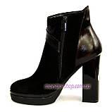 Женские классические ботинки на высоком каблуке, зимний вариант, фото 3