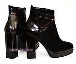 Женские классические ботинки на высоком каблуке, зимний вариант, фото 6