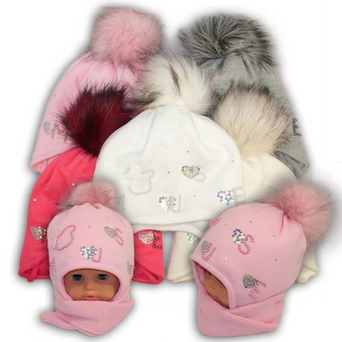Детский комплект - шапка и шарф для девочки, Ambra (Польша), утеплитель Iso Soft, P-12