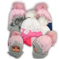 Детский комплект - шапка и шарф для девочки,  Ambra (Польша), утеплитель Iso Soft, P-33