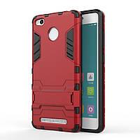 Чехол накладка для Xiaomi Redmi 3 PRO противоударный силиконовый с пластиком Alien, с подставкой Красный