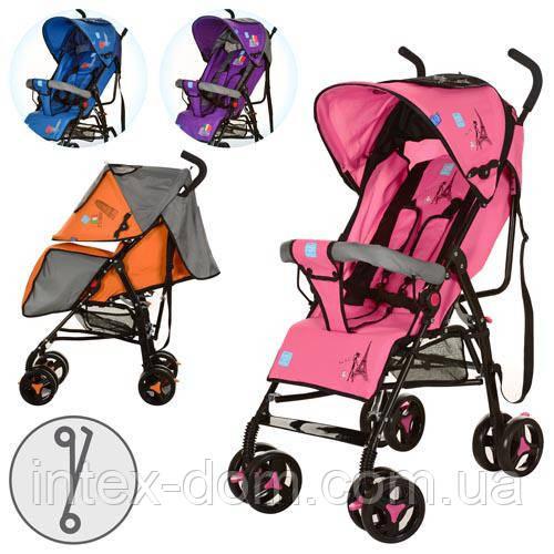 Детская коляска Bambi M 1701-2O (Оранжевая) с козырьком