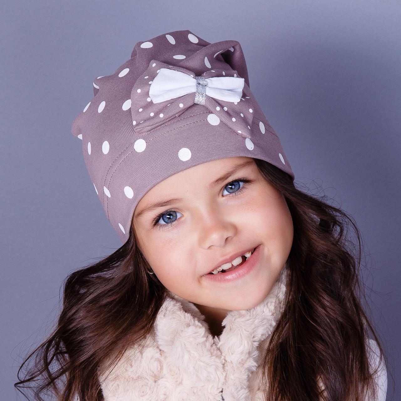 Модная шапка с бантиком для девочек оптом - весна-осень  - Артикул 1776