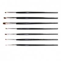 Набор кистей для дизайна, китайской росписи ногтей (7 шт) черные А-22