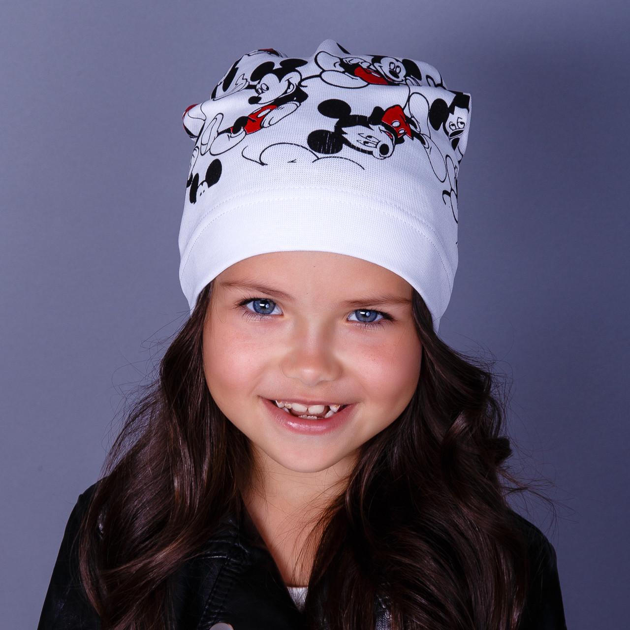 Модная шапка для девочек - Мики маус - оптом - весна-осень  - Артикул 1778
