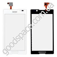 Тачскрин (сенсор) Sony C2305 (S39h) Xperia C, цвет белый, копия высокого качества