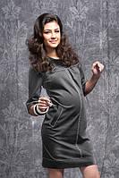 Платье для беременных С отстрочками серый меланж-М