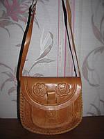 Рыжая кожаная сумка. Ручная работа