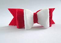 Вырубка из фетра бант двойной красный белый