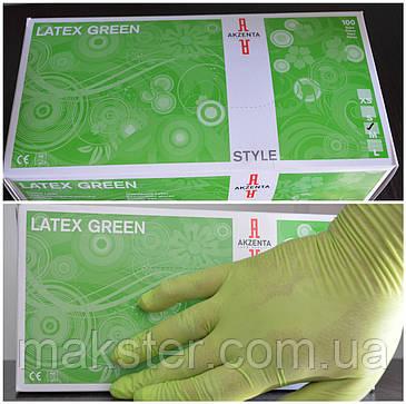 Перчатки латексные зеленые Akzenta(100 шт), фото 2
