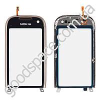Тачскрин (сенсор) Nokia C7, цвет серый с рамкой, копия высокого качества
