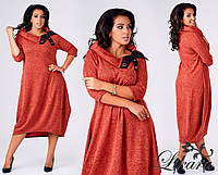 Женское платье баллон большого размера ангора меланж терракот 444/04 ИС