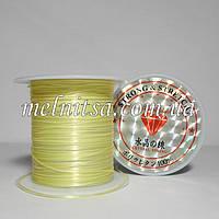 Нить силиконовая плоская, (слоенка), 0,8мм, цвет св.желтый