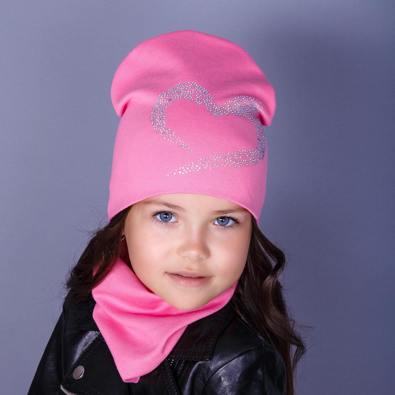Стильная двойная шапка для девочек - Любовь - оптом - осень - весна - Артикул 1791