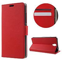 Чехол книжка для Lenovo Vibe S1 Lite боковой с отсеком для визиток и отверстием под динамик, Красный
