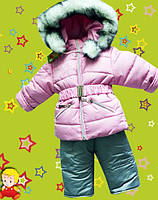Зимний детский комбинезон на девочку на овчине.