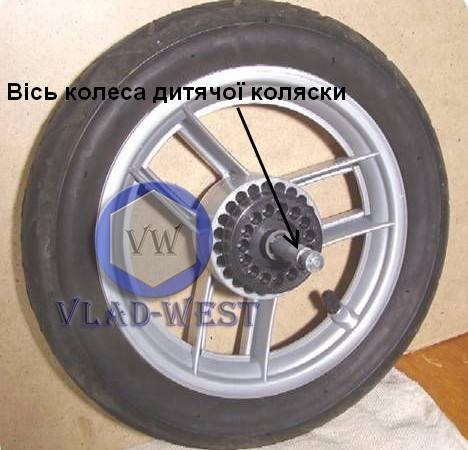 Ось колясочная для крепления колеса детской коляски