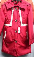 Яркое пальто для девочки с капюшоном