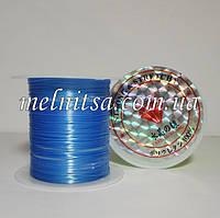 Нить силиконовая плоская, (слоенка), 0,8мм, цвет голубой