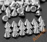 Шипы конусы пришивные 5х6 мм серебро (маленькие)