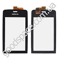 Тачскрин (сенсор) Nokia 308, 309 Asha, цвет черный, копия высокого качества