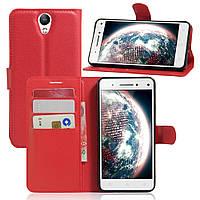 Чехол книжка для Lenovo Vibe S1 Lite боковой с отсеком для визиток, Красный