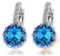 Серьги с яркими голубыми фианитами посеребренные