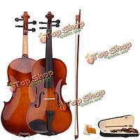 4/4 акустическая скрипка с футляром смычок канифоль для скрипки начинающих