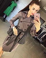 Женское модное пальто-плащ с баской и вставками из твида (2 цвета)