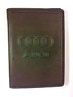 Кожаная обложка для прав и загран паспорта, с логотипом Audi