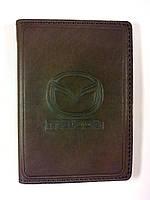 Кожаная обложка для прав + загран паспорт, с логотипом Mazda