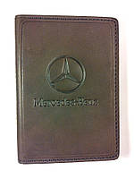 Кожаная обложка для прав + загран паспорт, с логотипом Mercedes