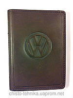 Кожаная обложка для прав + загран паспорт, с логотипом Volkswagen