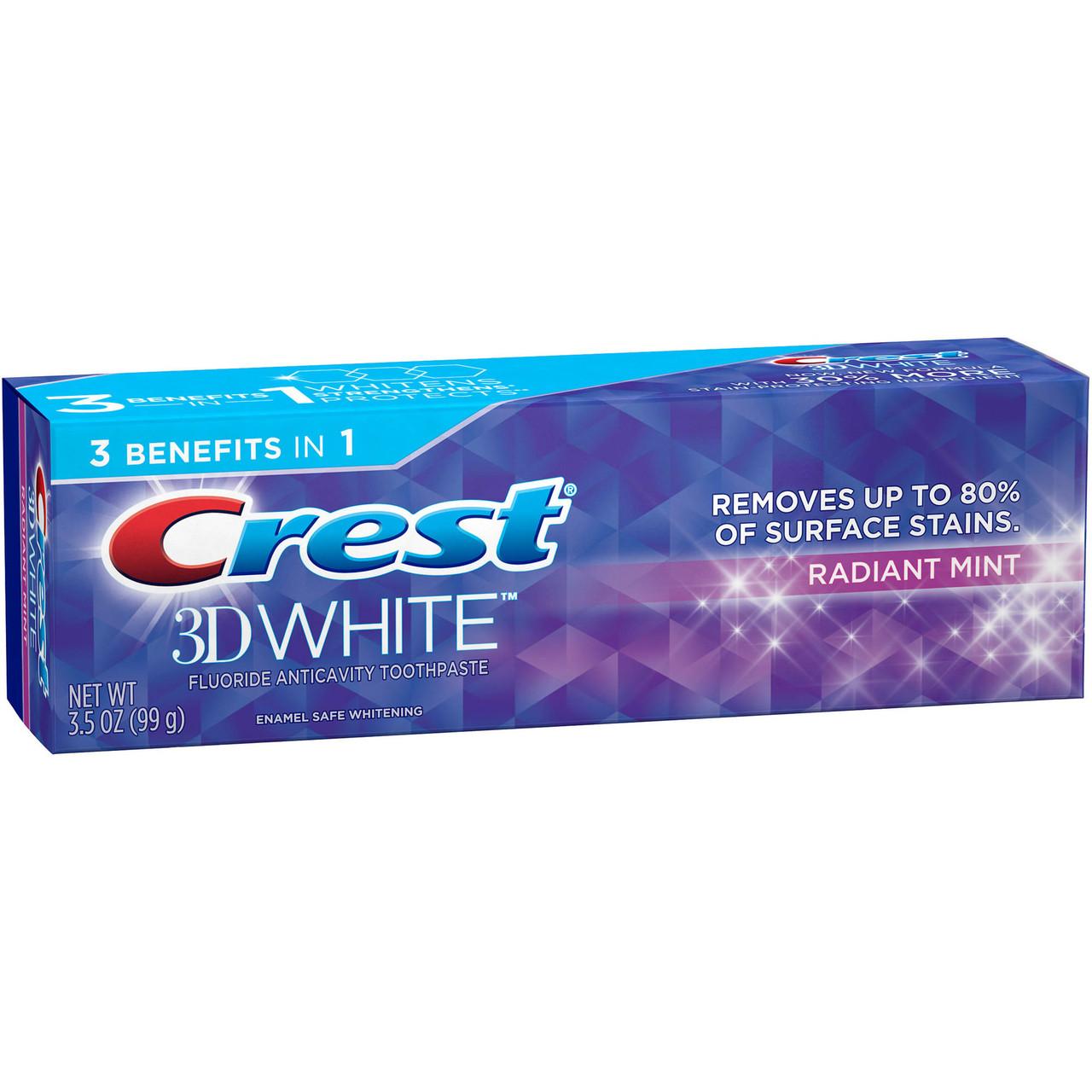 Отбеливающая зубная паста Crest 3D White Whitening Toothpaste, Radiant Mint