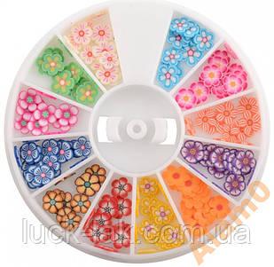 Нарезка фимо для ногтей, 12 видов, цветы