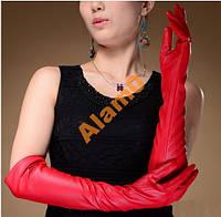 Длинные красные перчатки 47 см PU кожа до локтя