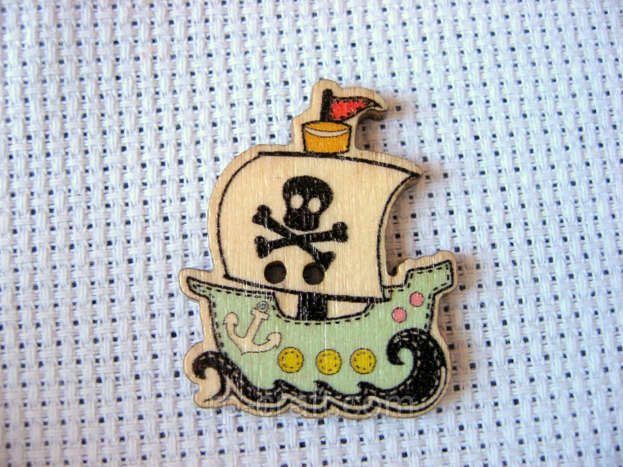 Пуговица деревянная декоративная, пиратский корабль