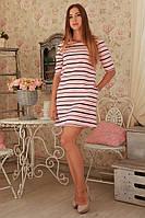 Женское платье нежно розового цвета в полоску