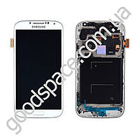 Модуль Samsung i9500 Galaxy S4: дисплей + тачскрин (сенсор), с рамкой, цвет белый