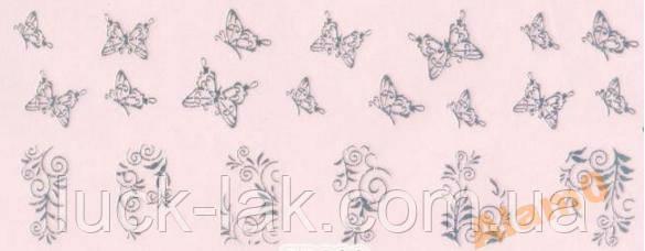 Cтикеры наклейки серебро Литье бабочки, фото 1