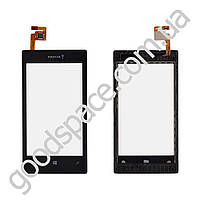 Тачскрин (сенсор) Nokia 520, 525 Lumia, цвет черный, с передней панелью, копия высокого качества