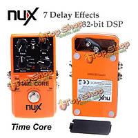 Педаль эффекта гитары ядра времени nux 7 эффектов задержки истинный обход