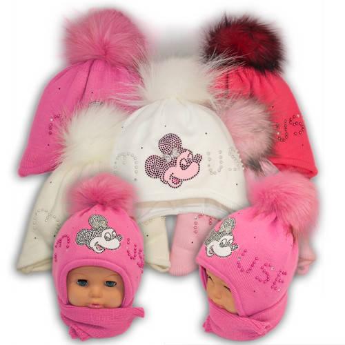 Детский комплект - шапка и шарф для девочки, Ambra (Польша), утеплитель Iso Soft, P-4